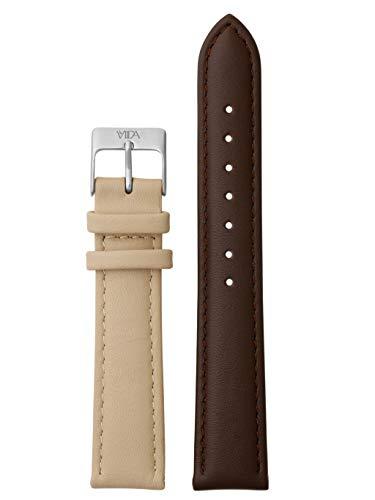 laVIIDA Uhrband LB-SVI2023S Ersatz Uhrband Leder 18 mm Dunkelbraun-Beige-Silber