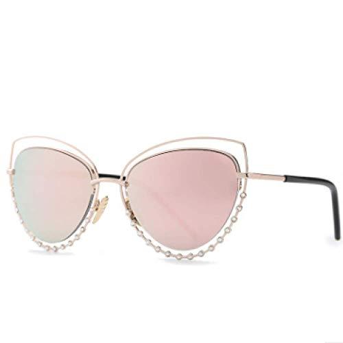 MNGF&GC Cat Eye Sonnenbrillen Europa und den Vereinigten Staaten bunten Film Metall Sonnenbrillen Mode weißer Bildschirm, Pulver