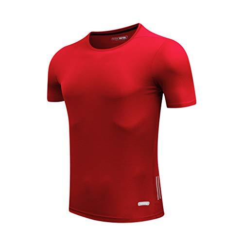 Celucke Herren Laufshirts Performance T-Shirt für Fitness Jogging, Sport Funktionsshirt Männer Compression Shirt Trainingsshirt Kompressionsshirt Kurzarm Rundhals Stretch Pro Dry (Rot,XL)