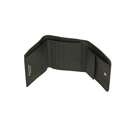 Chicca Borse Portafogli in pelle 12x10x3 100% Genuine Leather Nero