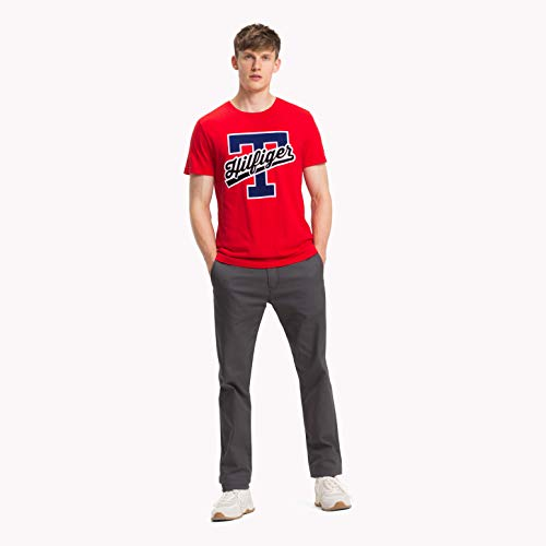 Tommy Hilfiger T-Script Logo tee, Camiseta Hombre, Rojo (Goji Berry 666), Large