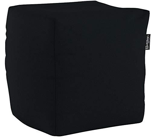 BuBiBag Sitzsack Würfel 45x45x45cm mit Füllung Cube Sitzwürfel Sitzkissen Bodenkissen Kissen Sessel BeanBag (schwarz)