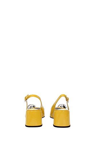1I743GSOLEIL Prada Sandale Femme Cuir Verni Jaune Jaune