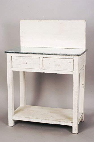 E+N Deko Table Blanc Dimensions : 110 x 78 x 42 cm, Plateau de Zinc Table + 2 tiroir