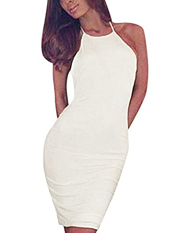 sourcingmap® Woman Halter Neck Sleeveless Open Back Slim Fit Wiggle Dress White L