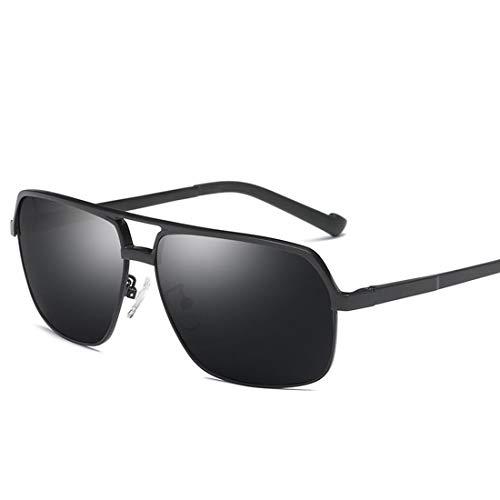 UV-Schutz Sonnenbrillen Retro Quadratische Form Aluminium und Magnesiumrahmen Herren Polarized Sonnenbrillen. Brille (Farbe : Schwarz)