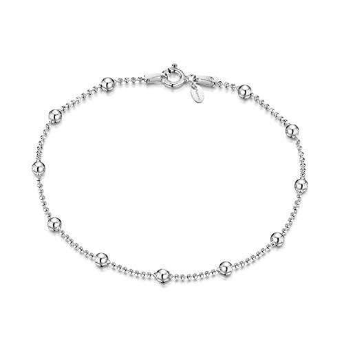 Amberta 925 Sterlingsilber Armkette - Diamantierte Kugelkette mit größeren Kugel Armband - 1.1 mm Breite - Verschiedene Längen: 18 19 20 cm (20cm)