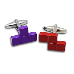 MagMouch Tetris Stil Manschettenknöpfe, Rot und Lila
