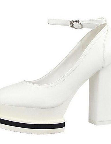 WSS 2016 Chaussures Femme-Habillé / Soirée & Evénement-Noir / Blanc-Plateforme-Talons-Talons-Similicuir white-us8 / eu39 / uk6 / cn39
