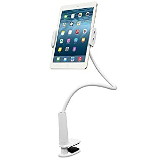 Aduro Tablet Gooseneck Universal Mount, SOLID GRIP 360 Rotating Flexible Hands Free Viewing Stand For iPad, Galaxy & all Tablets, White