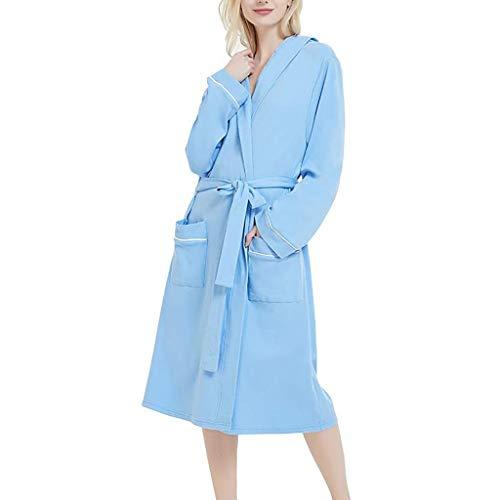 Setsail Morgenmantel Damen Kleider Plüsch Robe mit Kapuze Saugfähig Weich und Bequem Bademäntel Normallack-Baumwollpyjama-Nachthemd-Wäsche-Bademantel mit Gurt -