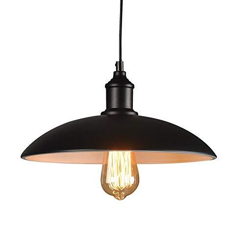 Lightess Suspension Luminaire E27 Métal Abat-jour Eclairage de Plafond Style Antique Industrielle Vintage Retro 220V Installation Facile pour Eclairage Cuisine Salle à manger Salon Chambre d'enfants et Restaurant - Noir