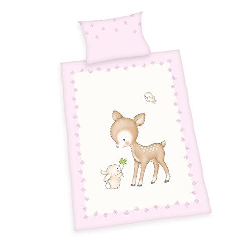 Herding Baby Best Kleinkinder-Bettwäsche-Set, Jana Reh Wendemotiv, Bettbezug 100 x 135 cm, Kopfkissenbezug 40 x 60 cm, Flanell/Biber