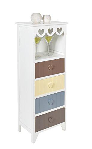 Kommode Schrank in Weiß mit Herz-Dekoration Flur Bad Küchen Kinderzimmer Regal mit 4 Schubladen und einem Fach