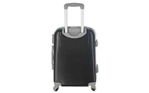 Maleta Equipaje de cabina 50cm y 55cm–Trolley ABS Ultra ligero–4ruedas para voler con Easyjet Ryanair Art–6802, Negro (Negro) – ormi_Nero
