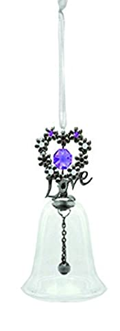 Gunmetal Plated Blooming Love Glass Bell Ornament with Purple Swarovski Element Crystals by Crystal Delight by Mascot