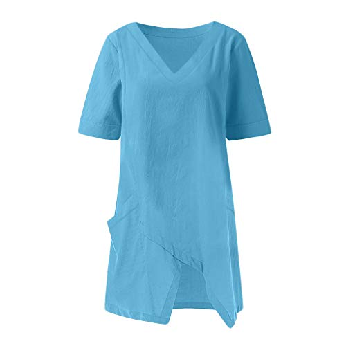 MCYs Unregelmäßiges Damen-T-Shirt mit V-Ausschnitt Frauen Beiläufige Feste unregelmäßige V-Ansatz Kurzarm Taschen Top Bluse Army Dress Blue Hose