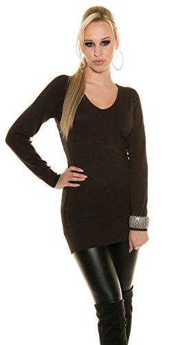 In-Stylefashion - Pull - Femme Beige Beige Taille unique Noir - Noir