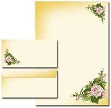 Paper-Media Set de 10 feuilles de papier à lettre motif roses + 10 enveloppes format long sans fenêtre assorties