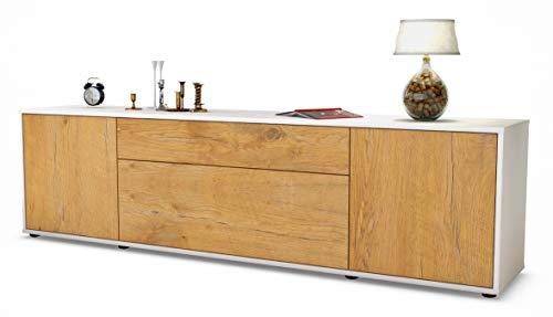 Stil.Zeit TV Schrank Lowboard Aria, Korpus in Weiss Matt/Front im Holz-Design Eiche (180x49x35cm), mit Push-to-Open Technik und Hochwertigen Leichtlaufschienen, Made in Germany