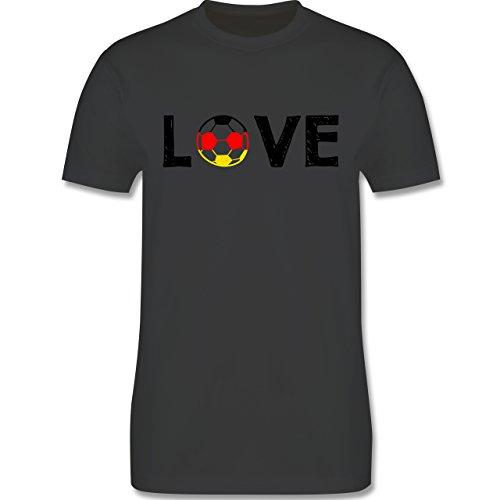 EM 2016 - Frankreich - Love Fussball Deutschland - Herren Premium T-Shirt Dunkelgrau