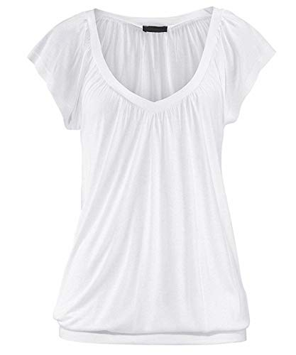Uniquestyle Damen Sommer T-Shirt Kurzarmshirt V-Ausschnitt Lässige Stretch Falten Bluse Tops Oberteil Baumwollshirt Blickdicht Weiß M