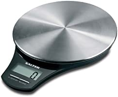 Salter Stainless Steel Digital Kitchen Weighing Scales - Stylish Silver Platform / Black Design Electronic Cooking Scale Appliance for Home and Kitchen, Weigh Food with Accurate Precision up to 5kg + Aquatronic Feature for Liquids in ml and fl. Oz. 15 Year Guarantee