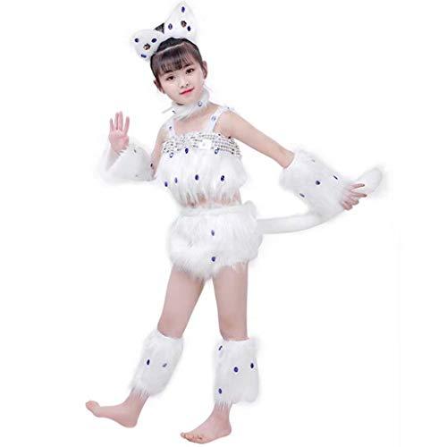 Kostüm Kind White Cat - HUO FEI NIAO Girl Show Kostüm Party Animal Show Kostüm Pailletten White Cat Dance Kostüm Cartoon Kostüm (Color : White, Size : 150)