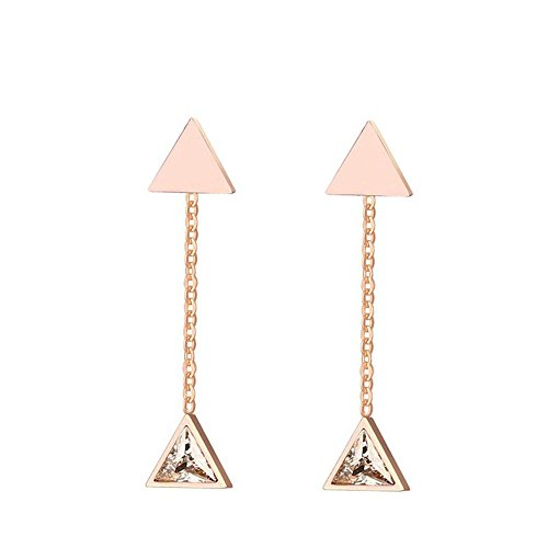 Onefeart Acero Inoxidable Aretes Mujeres Delicado Geométricoal Triangular Soltero Triangle CZ Outer 35x8MM