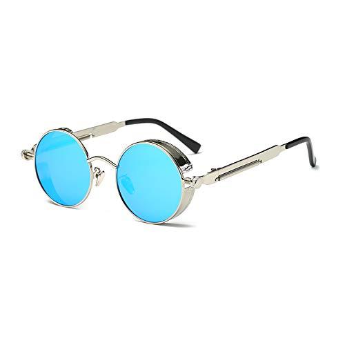 TOOSD Sonnenbrille Polarisierte Unisex Metallgestell Fahren Schutz Brille Flieger-Sonnenbrille Objektiv Einheitsgröße Runde Ersatzscheiben,Blue