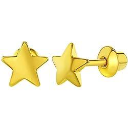 Pendientes para niñas, oro amarillo de 18 ct, diseño de estrellas planas