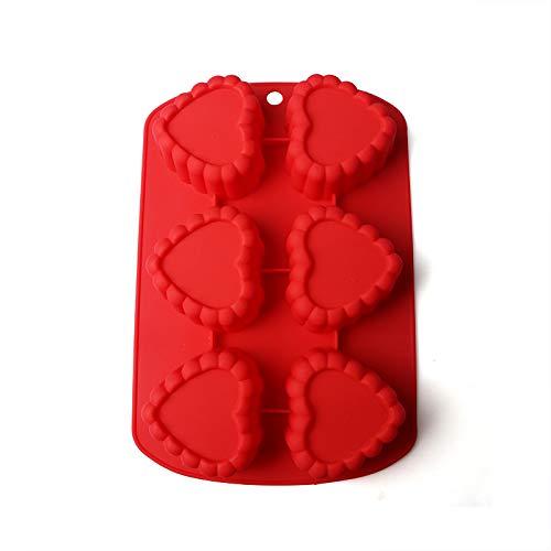 fun-love Silikon tägliche Obstkuchenform, Snackform, Candy Jelly Schimmel 12, herzförmige Eisgitter Farbe Lebensmittelqualität Silikon Eisgitter hohe elastische Hochtemperaturform