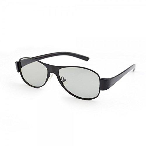 ABCUV Aviator 3D Passive Polarisierte Brille, Schwarz Metall Rahmen-Für RealD Kinos Verwenden und passiven 3D-Tvs