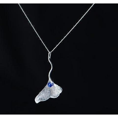 SUYA Fatto a mano, lucidato a mano, gingko foglia forma, con lapislazzuli, 925 gioielli in argento Sterling ciondolo collana stile cinese classico retrò, regalo alla moda