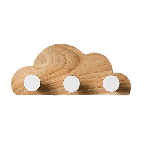 WUDAXIAN Abrigo de Gancho Colgador de Pared Decoración de Madera Decoración Creativa de la Nube Colgadores Perchero Durable Sombrero Ropa 3 Ganchos (Color : Blanco)
