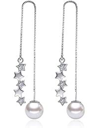 adae18775446 ZHWM Pendientes De clip Aros Moda Brillante Estrella Cubic Zirconia De Gota  Color Oro Blanco Cadena
