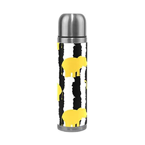 Botella de agua con diseño de elefantes amarillos y rayas blancas de...
