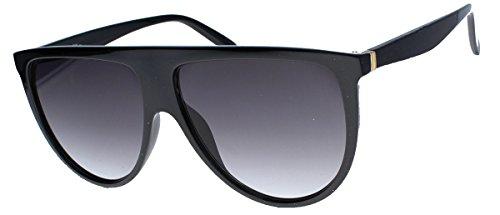 amashades Vintage Classics Übergroße Damen Sonnenbrille im Flat Top Stil groß halbrund VS76 (Glossy Black)