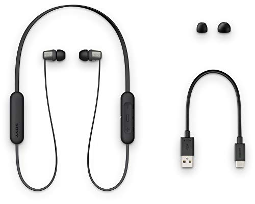 Sony WI-C310 Wireless Bluetooth in-Ear Headphones with Mic, 15 Hours Battery Life, Quick Cost, Magnetic Earbuds, Tangle Free Cord and with 1 Year Warranty - Black Image 5