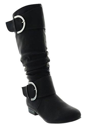 Klassische Damen Stiefel Stiefeletten Flache Schlupfstiefel Schuhe Langschaft 98 (41, Schwarz)