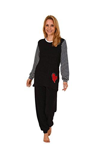 Damen Frottee Pyjama Schlafanzug Rundhals Streifen Ringel Bündchen Übergrößen Schwarz
