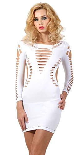 Miss Noir Damen Kleid elastisch und flexibel tragbar Einheitsgröße mit Langärmliges Clubwear Partykleid (Weiß) -