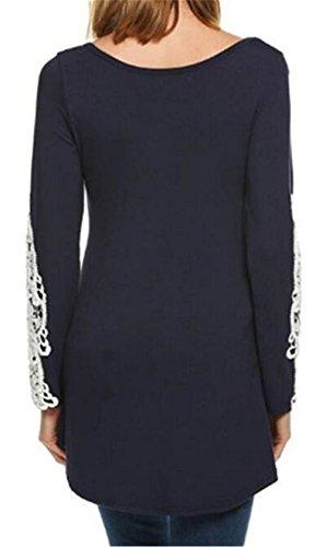 BESTHOO Maglietta Donna Camicia Elegante Manica Lunga Camicetta Rotondo Collo Camicie Lungo Casual Moda Blusa T-Shirt Top Blue