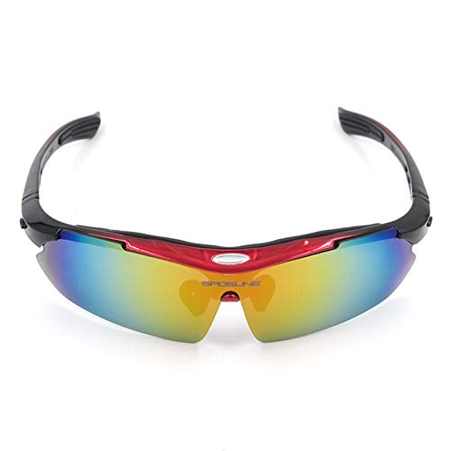 Bishilin Motorrad Brille Selbsttönend Winddichte Brille Sport Sicherheitsbrille Damen Schutzbrille Schwarz Rot