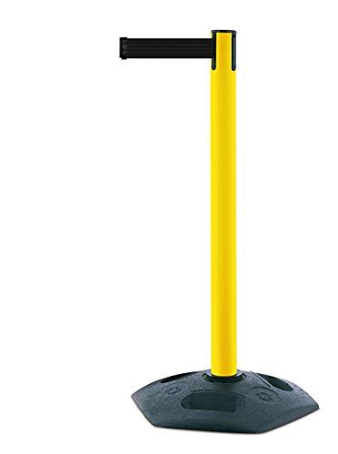 Tensabarrier Robuste Pfosten in Gelb mit schwarzem Gummiboden und 3,65 m schwarzem Gurtband mit manipulationssicheren Klebeband
