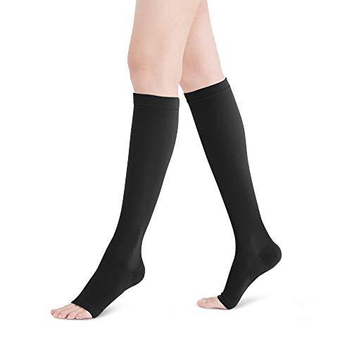 FYTTO 2020 Open Toe Kompressionsstrümpfe - Stützstrümpfe mit offener Spitze | 100 DEN | Klasse 1 | Gegen Reisethrombose & geschwollene Beine | schwarz | L -