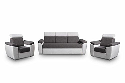 Polstergarnitur Sofa Set 3er & 1er Wohnlandschaft 3-Sitzer und zwei Sessel Möbel Set - MONZA (Grau)