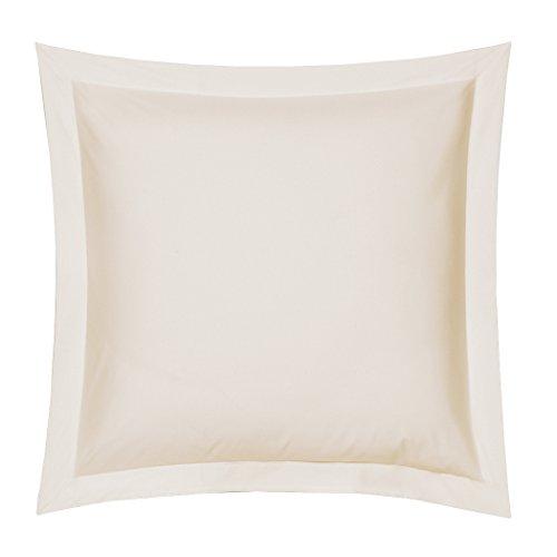 Blanc des Vosges Uni Percale Taie Coton Nougat 65 x 65 cm