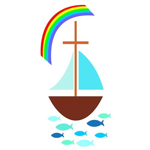 """Wachsmotiv""""Segelboot mit Regenbogen"""""""