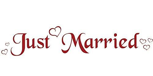 Autoaufkleber Just Married klassisch mit Herzen